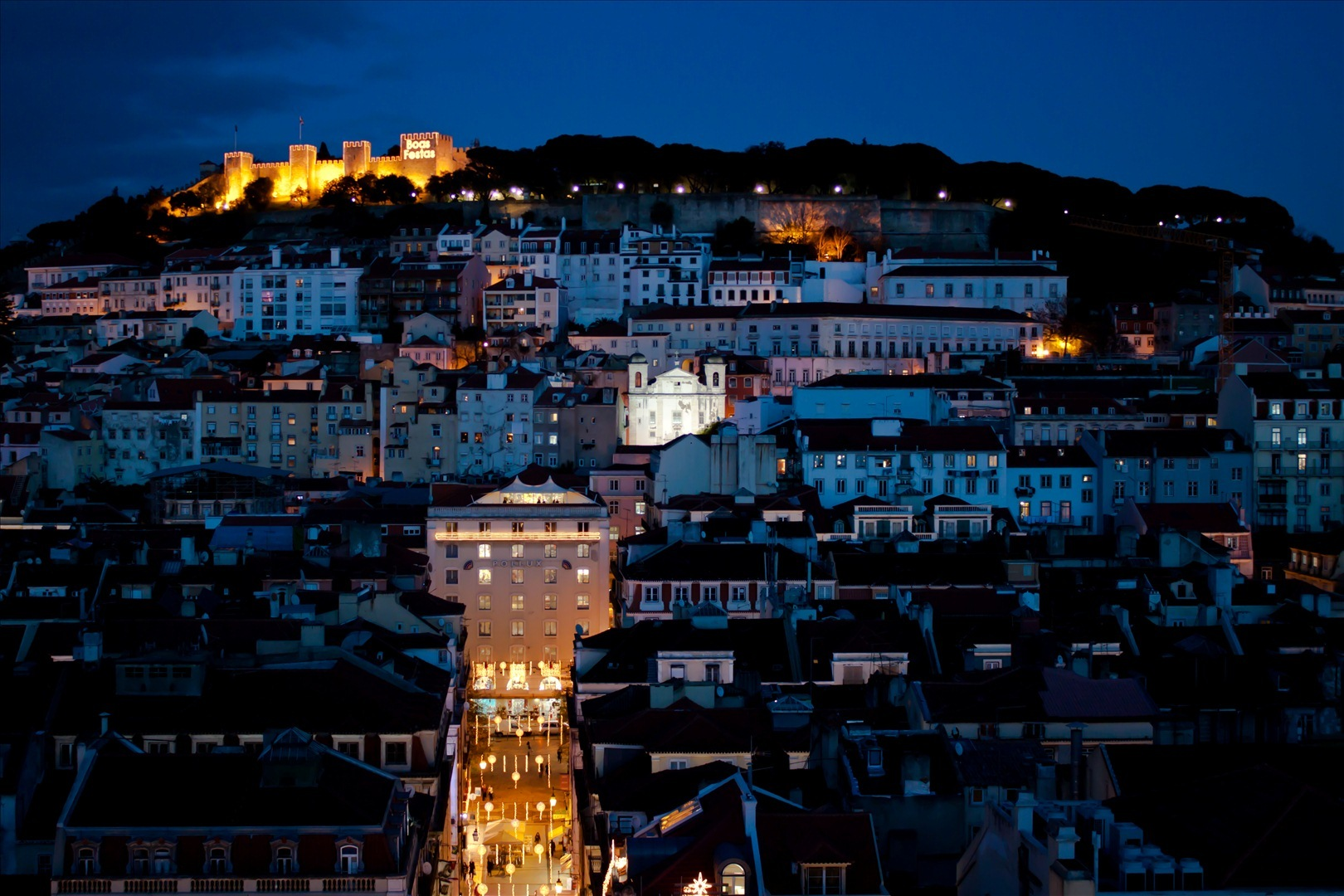 lisbon night lights blue hour landscape